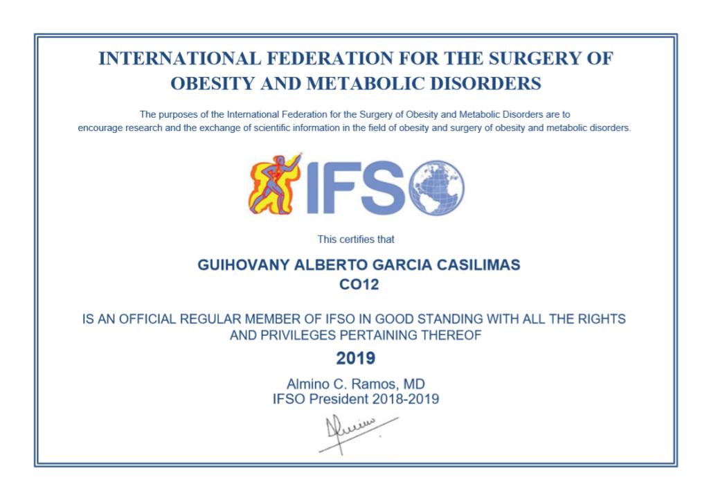 Dr. García, Miembro de la IFSO